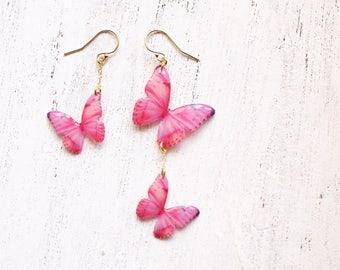 Light Pink Butterfly 14K Gold Filled Asymmetrical Earrings [Pierced or clip-on]