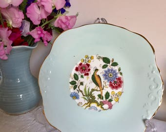 Sutherland cake plate. Gorgeous mint green. Staffordshire made.
