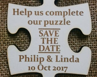 Personalised 'Save The Date' jigsaw piece invitations