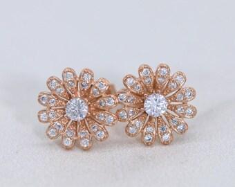 Stud Earrings Rose Gold, Flower Stud Earrings, Daisy Stud Earrings, Sterling Silver Stud Earrings, Simple Jewelry E011