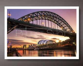 Tyne Bridge print, Cityscape photography, newcastle quayside, long exposure photo, sunrise image, water reflection, golden hour shot