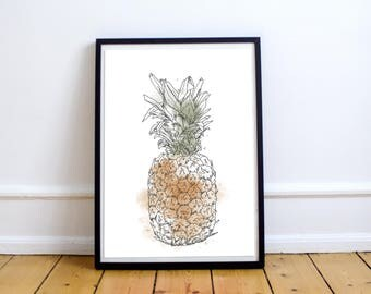 Pineapple - Print 8 X 10 Illustration with watercolors