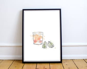 Campirina Cocktail - Print 8 X 10 Illustration with watercolors