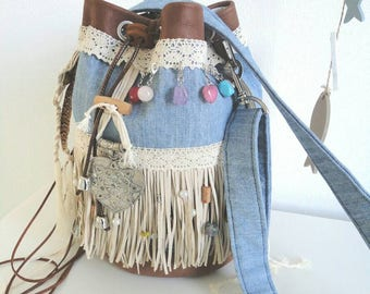 FREE SHIPPING!!! Bucket bag in Boho, Ibiza, festival style. Beautifully decorated with glass and wooden beads.