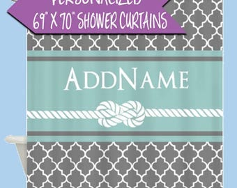 Personalized Name Shower Curtain   Custom Shower Curtain   Gray And Mint  Quatrefoil Rope Personalized Shower