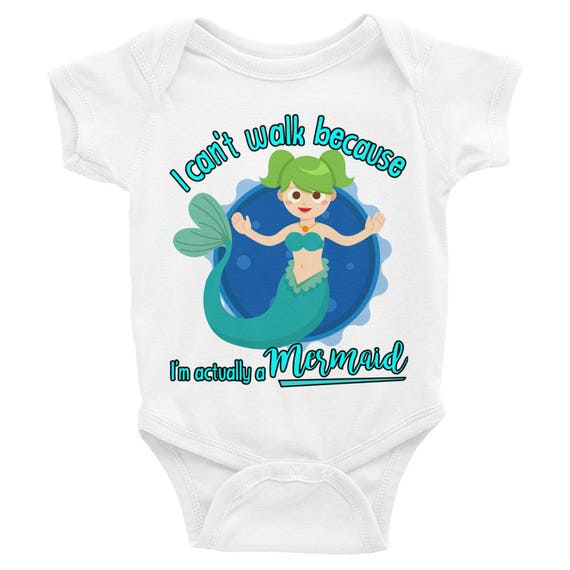 Mermaid Infant Bodysuit, I'm A Mermaid Baby Onesie, Cute Mermaid Baby Bodysuit, Actually Im a Mermaid Baby Clothes, Funny Baby Onesie