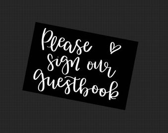 Guestbook Chalkboard Sign - Chalkboard Wedding Sign - Hand Lettered Print - Printable Wedding Sign - Printable Wedding Sign