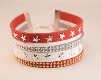 Red, white and silver Cuff Bracelet