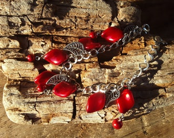 Bracelet with charms and Red earrings