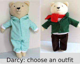 Stuffed Bear, Choose Onesie Pajamas OR Day Time Clothes, Teddy Bear named Darcy