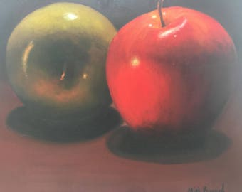 "Oil Painting On Canvas Apples in the Night By Miri Baruch, Size: 19.6 "" x 23.6"" (50 cm x 60 cm)"
