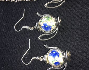 Silver teapot necklace and earring set