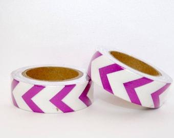 White foil Washi Tape masking tape - pink Chevron - Christmas gift - packaging - decoration - wedding