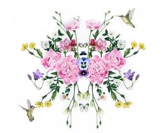 LIMITED EDITION | Floral Wall Art | Print of original drawing | Hummingbirds | Butterflies |Peonies | Botanical Drawing