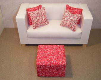 1:6 Scale Furniture Pouf and 4 Pillows - Barbie Momoko Blythe Pullip Fashion Dolls - Living Room Diorama - Red Flowers Floral