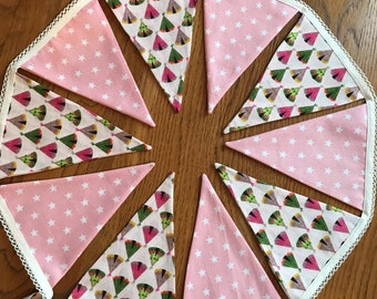 Pink double sided wigwam teepee bunting, 2 meters, 15 flags