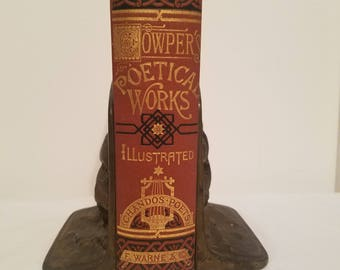 1800s William Cowper Works Decorative Victorian Binding, Illustrated Fine Binding