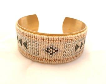 Beadloom brass cuff bracelet
