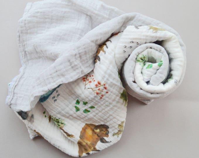 Muslin Blanket Gift Set /// 2 Baby organic double gauze swaddles