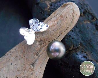 Tahitian Pearl Ring, Black Pearl Ring, Butterfly ring, silver ring, Green tahitian pearl, Hammered Ring, Black Pearl Jewelry R10