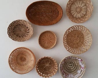 Vintage woven wicker rattan wall basket collection boho jungalow wall decor