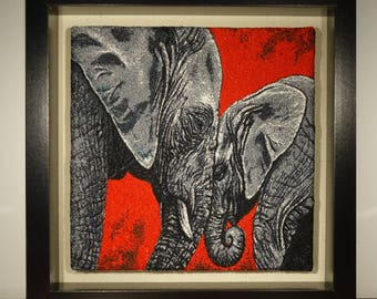 Embroidered Art - Elephants