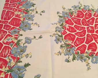 Vintage 62x50 Floral Red Blue Tablecloth, Vintage Floral Tablecloth, Vintage Rectangular Tablecloth, Excellent Condition