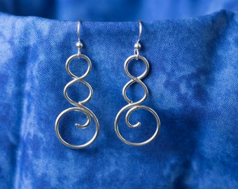 Handmade Sterling Silver Swirl Earrings