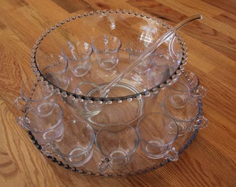 Candlewick Punch Bowl with Tray, Laddle and 12 cups