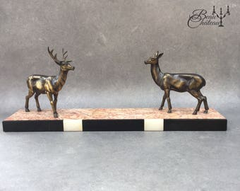 French Art Deco Spelter & Marble Sculpture of Two Deer on Marble Base. Cast Metal Doe and stag in Bronze 8th wedding anniversary gift