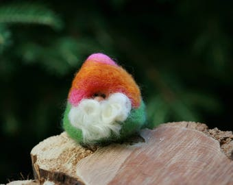 Unique Handcrafted Needle Felted Gnome Inspired by Island Sunsets