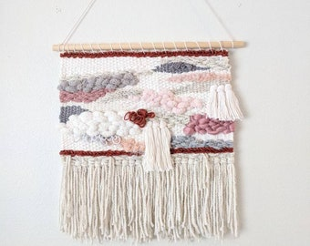Pink, White & Grey Woven Wall Hanging | White, Rust and Grey Large Woven Wall Hanging | Neutral Colored and Pink Wall Tapestry