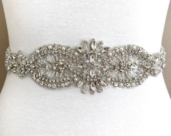 Silver crystal Bridal Belt, Bridal Sash, Wedding Belt, Wedding Sash Rhinestone prom belt