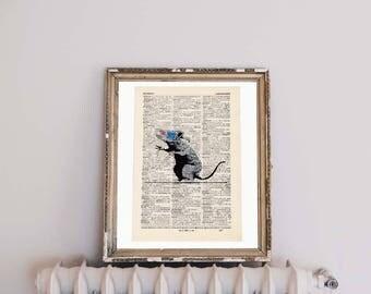 Print-Banksy-3d rat-on antique page
