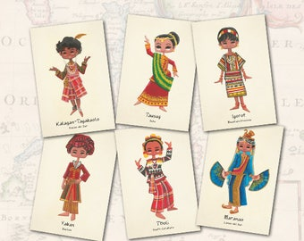 Philippine Ethnic Costumes Set of 6