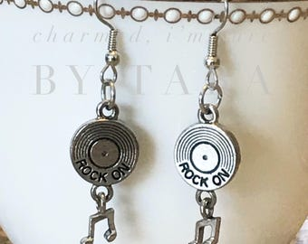 Rock On CD dangle charm earrings