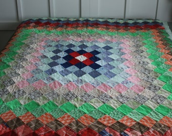 Vintage Twin Sized Handmade Quilt, Handstitched Patchwork Quilt, Handmade Farmhouse Quilt, Twin Bedspread, Comforter, Colorful,
