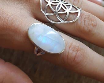 Rainbow Moonstone Crystal Ring - size 7