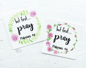"Floral wreath ""But first pray"" Philippians 4:6 Bible Verse Card"