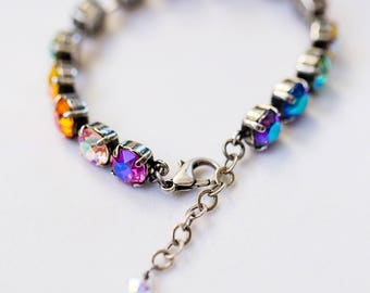 Swarovski Care Bears Rainbow Bracelet- Antique Silver