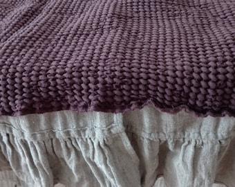 Linen throw blanket. Linen bed cover.Wine - Brown .Sofa throw.Linen comforter.Textured linen throw.Lithuanian linen throw