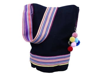 Hippie bag fringe - ethno shopper fabric