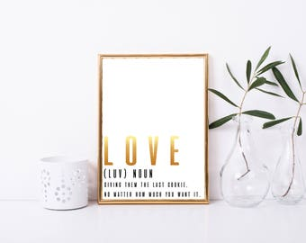 Love Definition Printable, Art Print, 8x10, Great Gift, Digital Decor, Love Printable Quote, Funny Love Printable Wall Art, Valentines Day