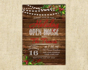 Holiday Open House Invitation. Open House Invitation. Christmas Party. Holiday Party. Christmas wreath. Red & White. Digital Invitation.