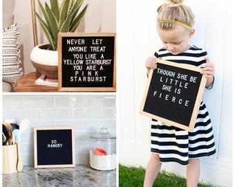 Felt Letterboard 10x10 Cafe Sign - Natural Oak Wood Frame + 290 Letters and Canvas Bag