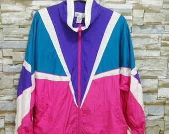 Vintage 90's Neon Windbreaker Bocoo Jacket Colorful Zip Up Oversized L