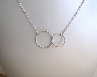 Double necklace 925 sterling silver circle