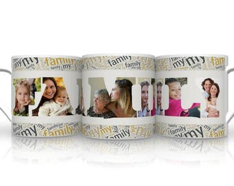 Personalised Family Mug With 5 Images . Family Gift. Mug For Family.
