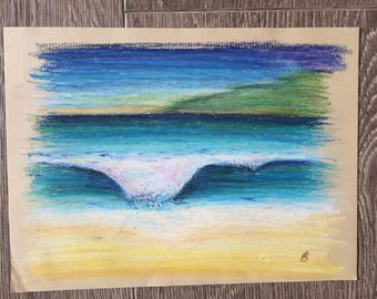 FREE SHIPPING Original Oil Pastel Drawing Seascape Waves Turquoise Blue Ocean
