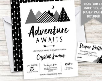 Adventure Awaits Baby Shower Invite Invitation Digital 5x7 Black White Arrows Mountains Gray